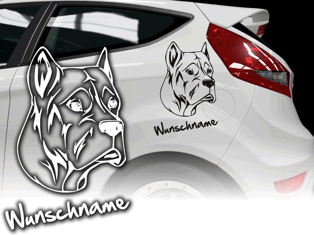 Hundeaufkleber fürs Auto mit Wunschname und Text